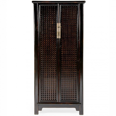 black-distressed-lattice-armoire-front1