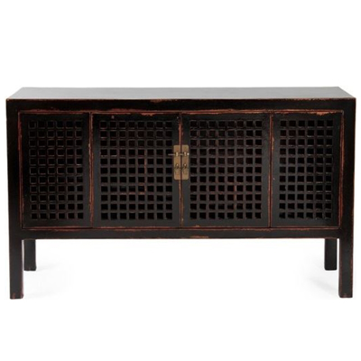 black-distressed-lattice-console-front1
